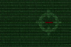 Binary computer code background, with red password Royalty Free Stock Image