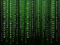 Binary computer code flowing on the black-green background stock photography