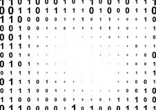 Binary computer code halftone pattern. With 1 and 0 numbers. Matrix background with zero and one. Digital data cryptography texture stock illustration