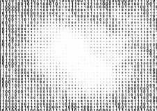 Binary computer code halftone pattern. With 1 and 0 numbers. Matrix background with zero and one. Digital data cryptography texture vector illustration