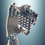 Binary Cube Logical Processing. Robot hand holding a binary cube concept of logical processing. Clipping path included Royalty Free Stock Photography