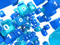 Binary cubes background Stock Photo