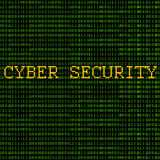Binary - Cyber Security. Green binary code with the words Cyber Security on a black background Royalty Free Stock Images