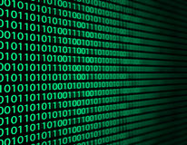Binary data. Background with green binary data from computer Stock Photo