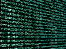 Binary data. Green binary code on black screen Stock Image