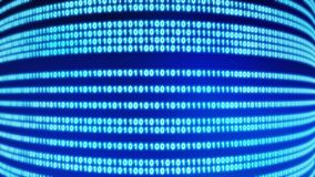 01 or binary data on the computer screen on blue background. In technology concept, 3d curve illustration royalty free illustration