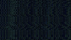 01 or binary data on the computer screen isolated on black. Background, 3d illustration stock illustration