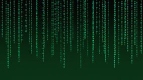 01 or binary data on the computer screen isolated on green. Background, 3d illustration vector illustration