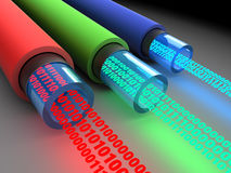 Binary data. 3d illustration of fiber optics cables with binary data Royalty Free Stock Photos