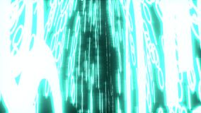 Binary data glowing closeup perspective blue stock video footage