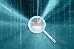 Binary data magnifying glass searching Stock Photos