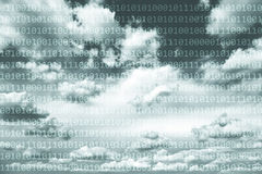 Binary data numbers on cloudy sky Royalty Free Stock Images
