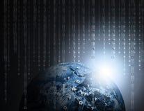 Binary Data Success. Binary Data Code Raining on Earth or Globe Royalty Free Stock Images