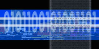 Binary Digital Stream. A city landscape with numbers or binary code overlayed on top Stock Photography