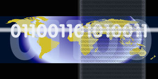 Binary Digital Stream. An image of a world or globe with numbers or binary code overlayed on top Stock Image