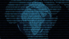 Binary digital world computer data code cyberspace graphic animation. Computer digital binary code Internet cyberspace graphic animation that can be used for stock illustration
