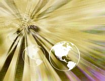 Binary earth globes ( yellow ) Royalty Free Stock Photography