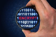 Binary encrypted code with encrypt word inside. Security concept, encrypted binary code with encrypt word inside Royalty Free Stock Photos