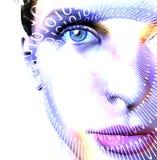 Binary Face. Binary Code and High Key Face Stock Photo