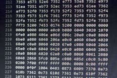 Binary file data in hexadecimal numbers. Computer programming abstract screen. Digital technology modern background Stock Photo