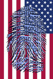 Binary finger print over US Flag Stock Photo