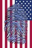 Binary finger print over US Flag. Binary finger print over USA Flag Stock Photo