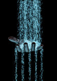 Binary flow hand. 3D render of binary data flowing on to human hand stock illustration