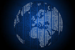 Binary Globe. On a simple blue to black gradient background Stock Photos