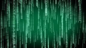 Binary green particles falling in Matrix. Network digital concept stock illustration