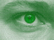 Binary. Human eye with binary bits - abstract photography Royalty Free Stock Photos
