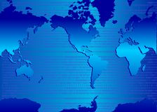 Binary map. Map of world with binary code backdrop Stock Photography