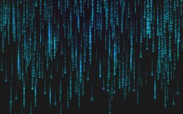 Binary matrix background. Falling digits on dark backdrop. Running random numbers. Abstract data concept. Blue. Futuristic cyberspace. Vector illustration stock illustration
