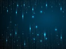 Binary matrix background. Falling digits on dark blue backdrop. Running random numbers. Vector illustration. vector illustration