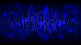 Binary matrix code on a dark blue background, shadow digital code in abstract cyberspace, artificial intelligence, vector royalty free illustration