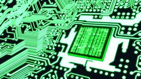Binary matrix cpu circuit board cybersecurity concept Royalty Free Stock Photo