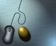 Binary Nest Egg. A computer mouse and a golden egg sit upon a surface covered with binary code Stock Illustration