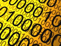Binary numbers background. Abstract background of binary numbers against  golden colour backdrop Stock Photography