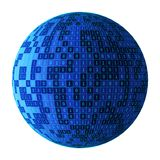 01 or binary numbers ball or sphere isolated on white. The computer screen on monitor matrix background, Digital data code in vector illustration