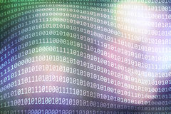Binary numbers code on abstract pink green bokeh blur background Royalty Free Stock Photo