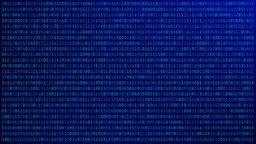 01 or binary numbers on the computer screen on blue monitor background metrix, Digital data code in hacker or security technology stock illustration