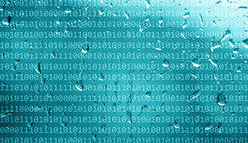 Binary numbers data on abstract rainy window Royalty Free Stock Photo