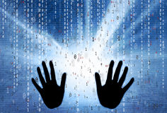 Binary numbers with human hands background Stock Photos