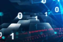 Blue binary numbers interface stock photos