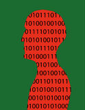 Binary Numbers Man. Human head and shoulders in profile filled with binary numbers in red and black on a green background Royalty Free Stock Image
