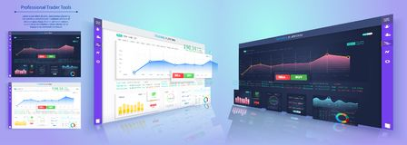 Binary option. All situation on market: Put Call, Win Lost deal. Futuristic user interface. Infographic elements. Abstract virtual graphic touch 3D UI for Stock Image