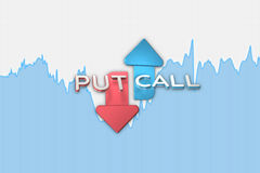 Binary option blue color chart with put and call arrows. 3D illustration Stock Images