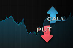 Binary option chart with put and call arrows. 3D illustration Stock Photos