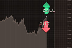 Binary option chart with put and call arrows. 3D illustration Stock Photo