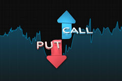 Binary option chart with put and call color arrows. 3D illustration Stock Photography