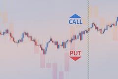 Binary option chart with stock bars. 3D illustration Stock Photo